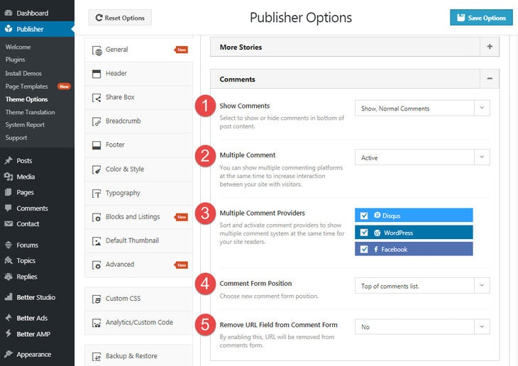 comments settings in Publisher