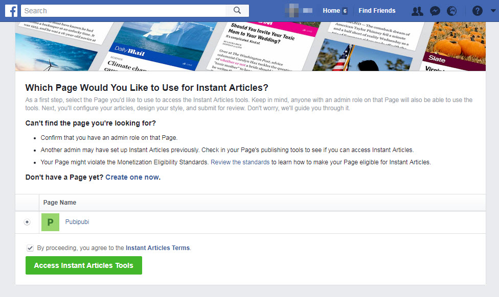 sign up for facebook instant article page