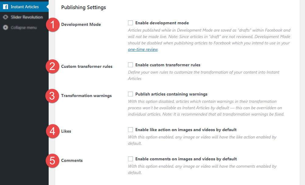 publishing settings in facebook instant articles