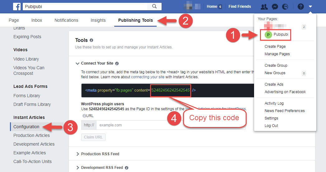 grab the page ID from facebook page