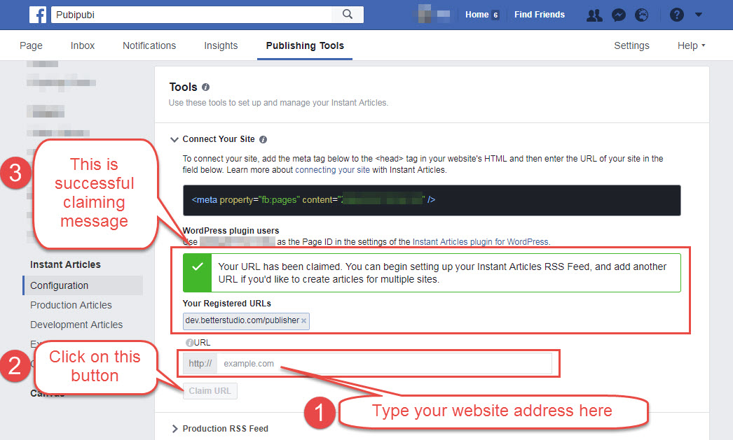 claim URL in facebook page