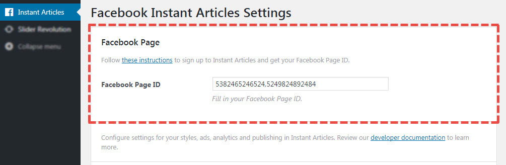 Facebook page options in FIA plugin