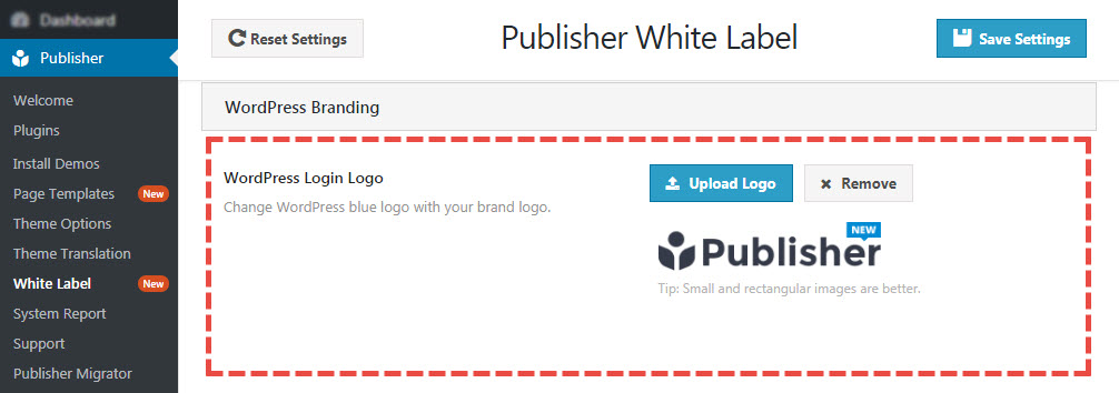 WordPress branding in white label